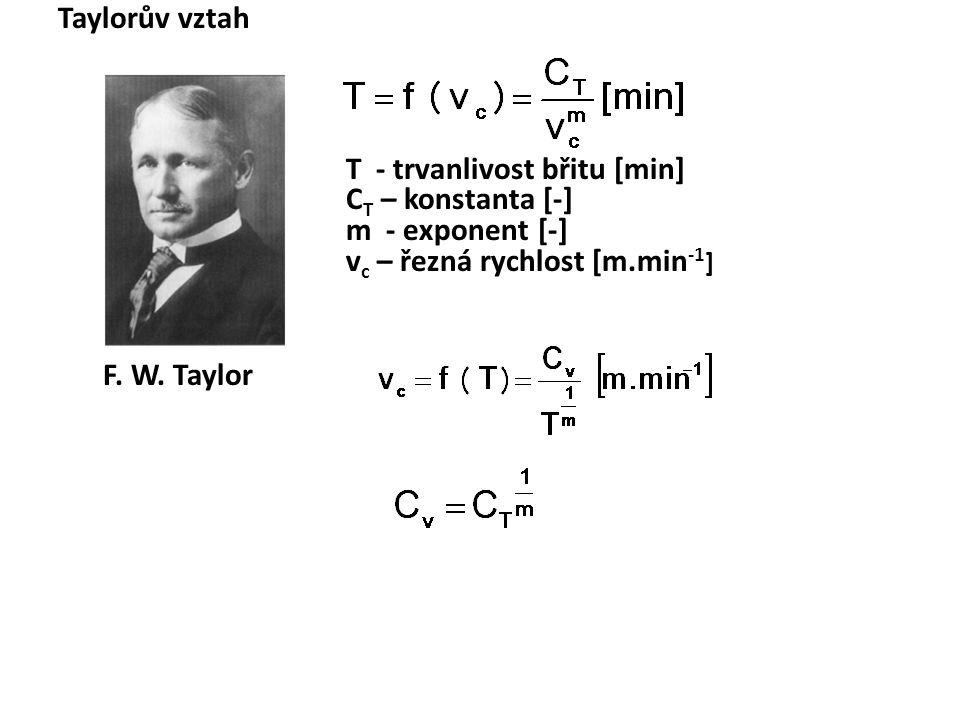 F. W. Taylor Taylorův vztah CT – konstanta [-] m - exponent [-]